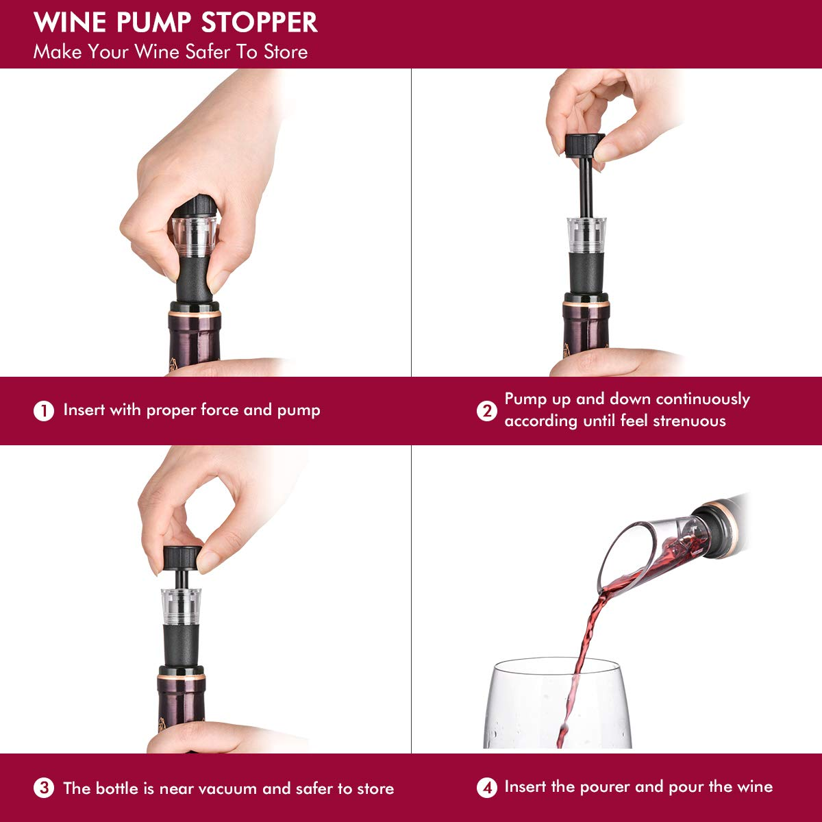 Wine Bottle Opener Air Pressure Wine Cork Remover Pump Wine Opener Wine Pump Wine Accessory Tool Handheld Wine Bottle Opener with Wine Pourer,Foil Cutter and Vacuum Stopper(Gift Box) by XCSOURCE (Image #4)