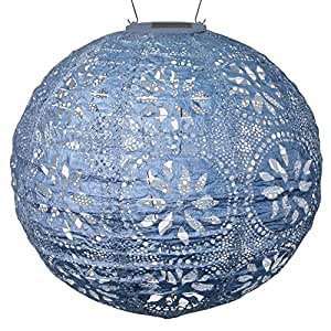 "Allsop 31836 Home and Garden Stella Boho Decor Solar Lantern, 12"" x 12"" Globe, Metallic Blue"