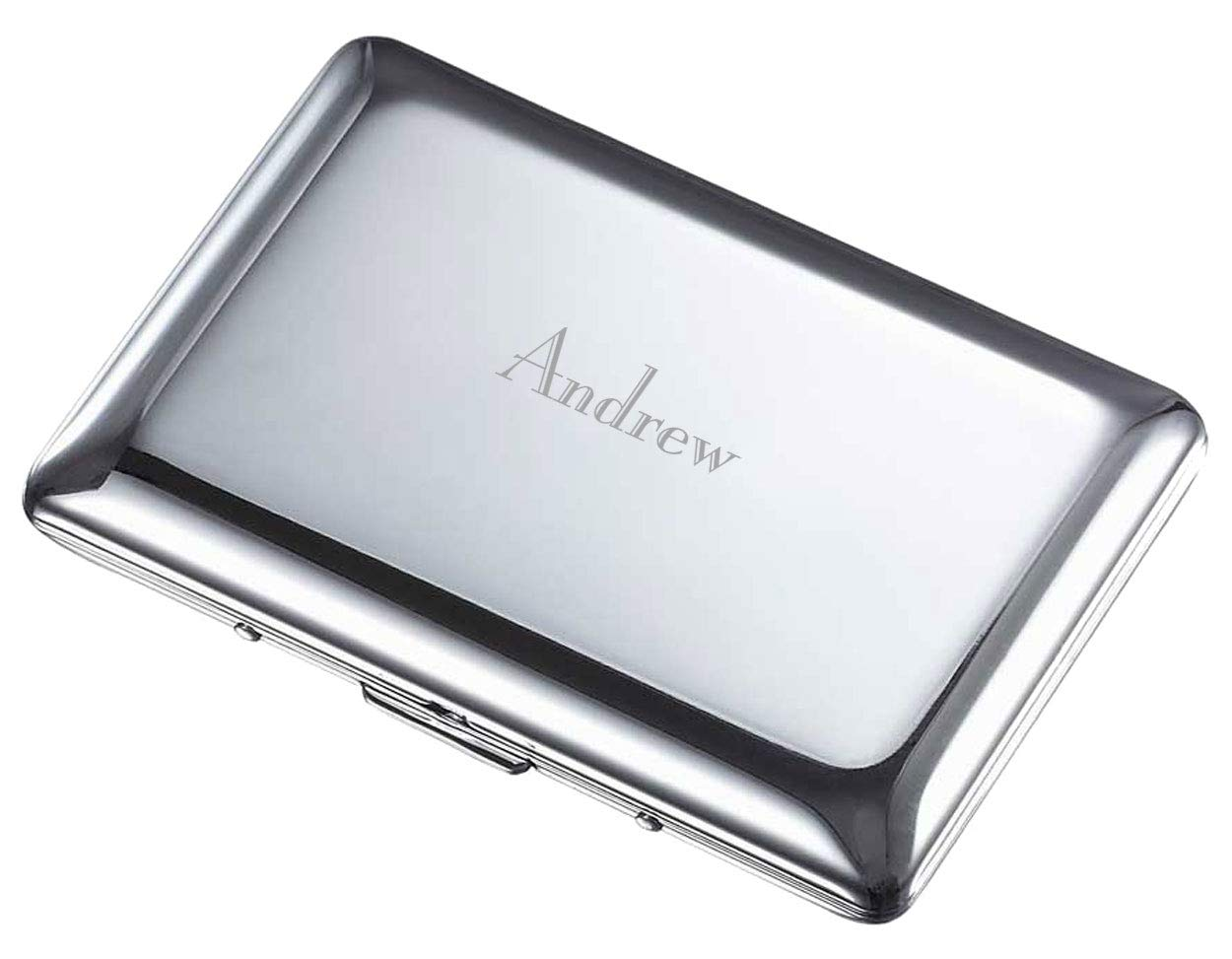 Personalized Visol Double Sided Business Card Case - Free Laser Engraving (Polished Chrome) by Visol