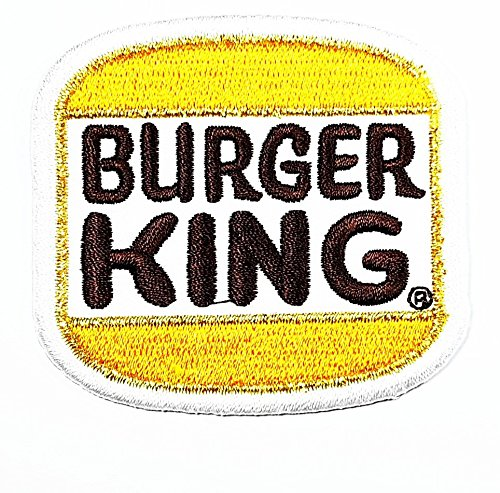 BURGER KING words funny patch Embroidered Iron on Hat Jacket Hoodie Backpack Ideal for Gift / 6.5cm(w) X 6cm(h) (Foods King Burger)