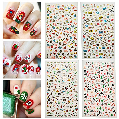 Dadiii Christmas Nail Stickers Art Water Slide Tattoo Decals Self-adhesive Sticker Nail Wraps with Christmas Designs (4 sheets) by Dadiii