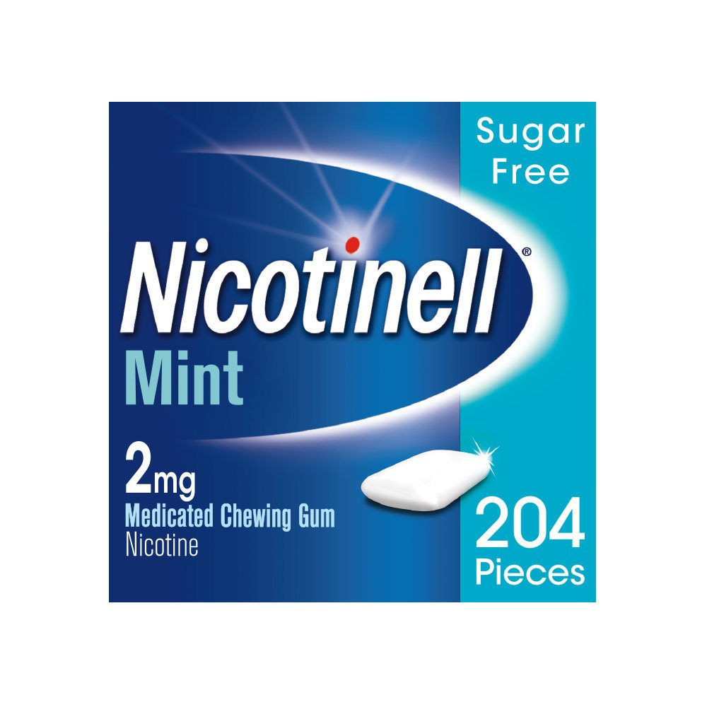 Nicotinell 2 MG Nicotine Smoking Cessation Chewing Gum - 204 Pieces - Mint Flavor