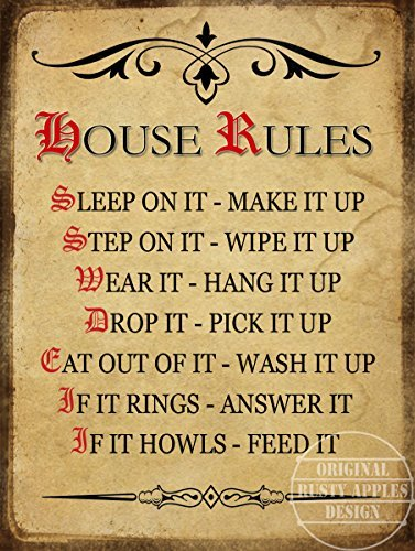 Amazon.com: Reglas de la casa placa de pared FUNNY Póster de ...