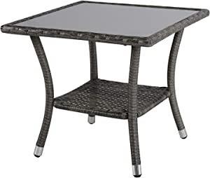 Super Patio Outdoor Patio Wicker End Table Rattan Square Glass Top Wicker Coffee Table Side Storage Table, Aluminum Frame, Gray
