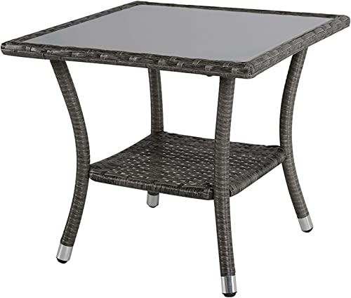 Super Patio Outdoor Patio Wicker End Table Rattan Square Glass Top Wicker Coffee Table Side Storage Table