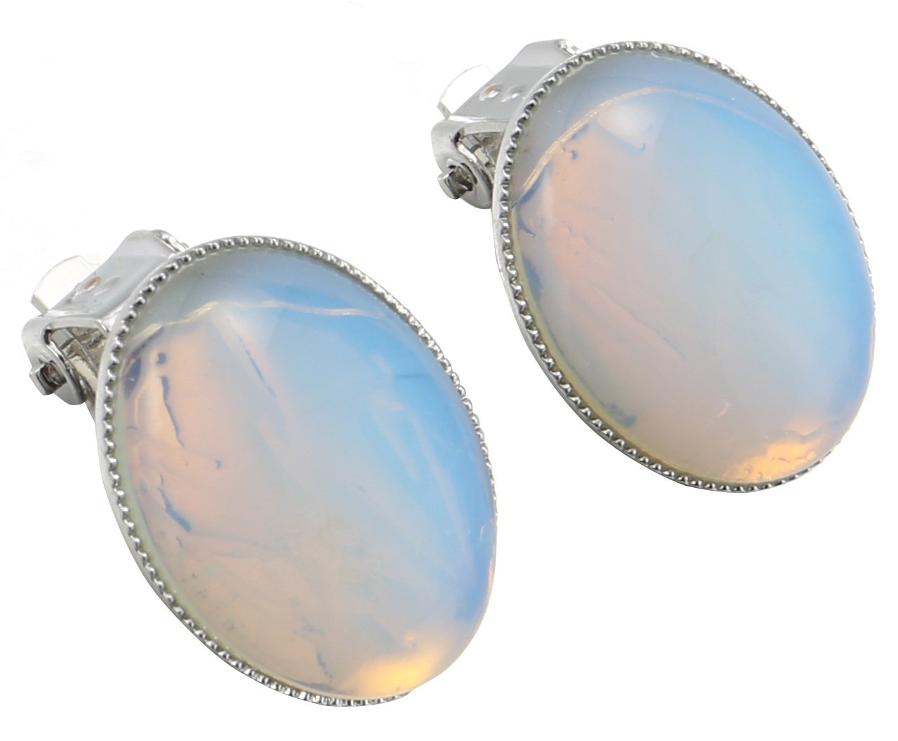MagicYiMu Women's Jewelry Oval Simulated Opal Clip-On Earrings by MagicYiMu (Image #3)