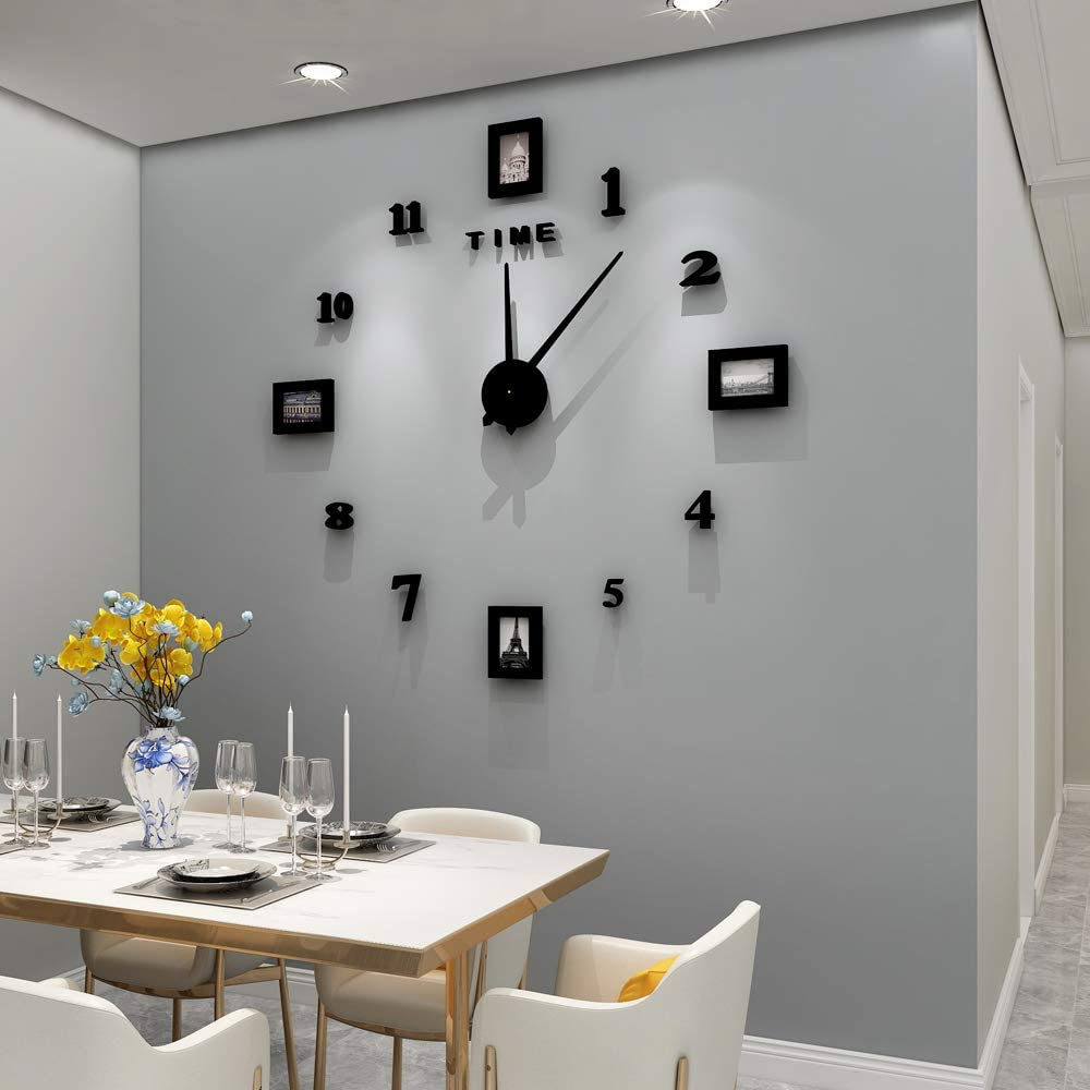 Fleble Large Wall Clock DIY 3D Acrylic Rome Number Stickers Quiet Mechanism Black Photo Frameless Decoration Wall Clock for Living Room Bedroom Office
