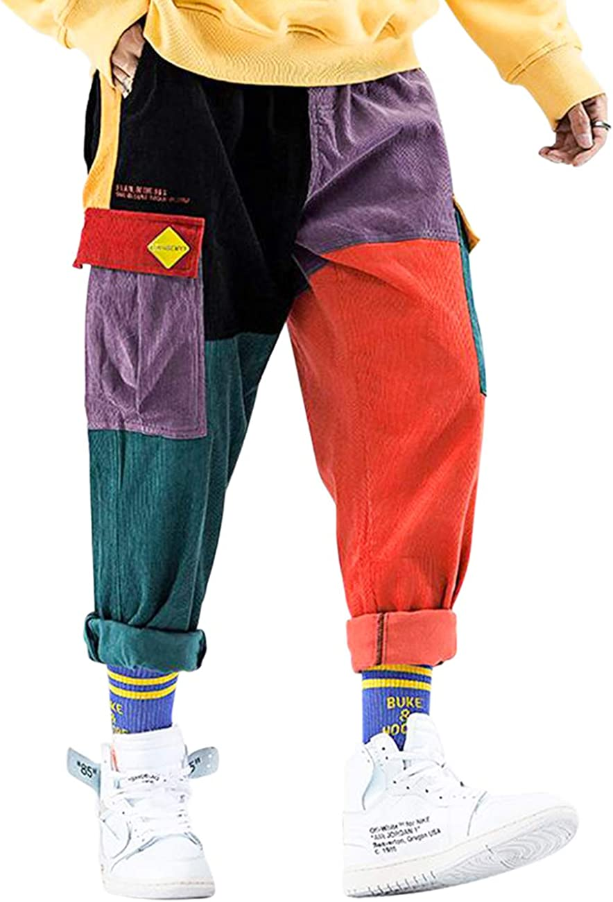 90s y2k Hip Hop Streetwear Trousers Free Shipping Two Colored Patchwork High Waisted Corduroy Pants