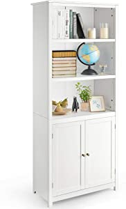 Tangkula Bookcase with Doors, 3 Tier Open Book Shelving, Standing Wooden Display Bookcase with Double Doors, Ideal for Home Bedroom, Living Room, Office, Library with Doors, White Finish (White)