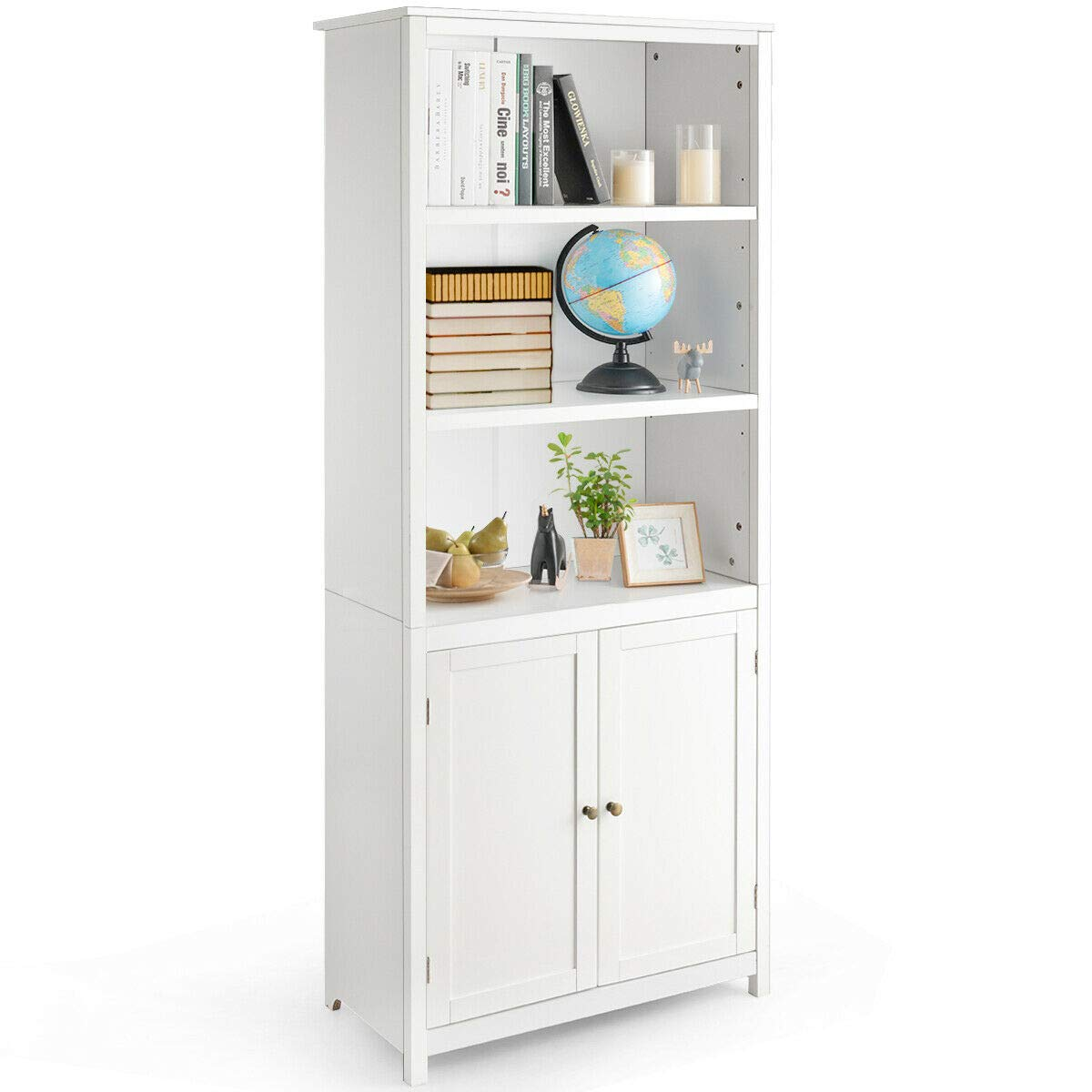 Tangkula Bookcase with Doors, 3 Tier Open Book Shelving, Standing Wooden Display Bookcase with Double Doors, Ideal for Home Bedroom, Living Room, Office, Library with Doors, White Finish (White) by Tangkula