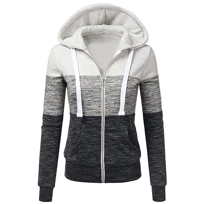 Mujeres Protuberancia color cremallera abrigo con capucha ,Yannerr invierno gruesa caliente encapuchados chaqueta sudadera manga