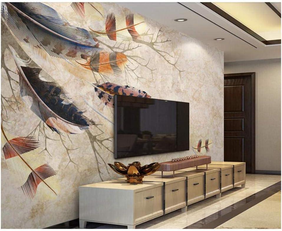Mrlwy Plumas coloridas ramas vintage papel tapiz 3d, sala de estar TV sofá pared dormitorio cocina pared papeles decoración para el hogar -400X280cm: Amazon.es: Bricolaje y herramientas