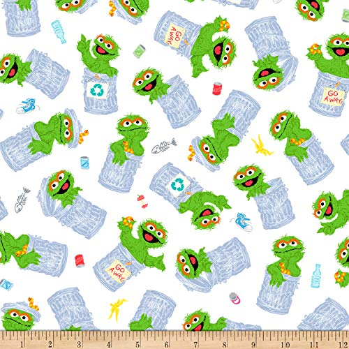 Exclusive Sesame Street Digital Tossed Oscar White Fabric by The Yard]()