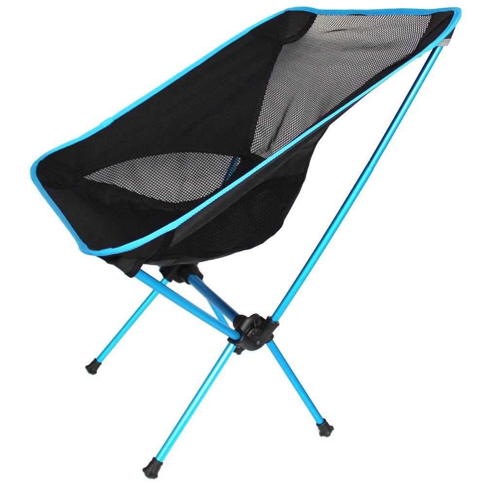 Ezyoutdoor Walkstoolコンパクトスツール折りたたみ椅子FoldingstoolジャンプSeat Collapsible折りたたみ時Seat for Bivouacバックパッキング、旅行、キャンプ、釣り、ハイキング、旅行、スポーツ( Almostブラック、edge-ブルー) B013G46FVY