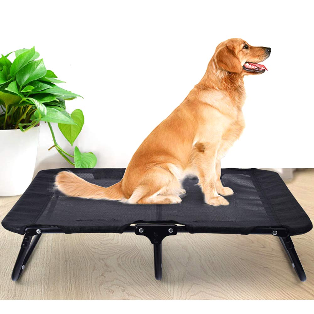 LANGYINH Heavy Duty Elevated Dog Bed,Portable Outdoor Pet Bed for Camping or Beach,Black,L