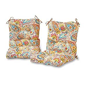 Greendale Home Fashions OC6815S2-Jamboree Set of Two, Outdoor Seat/Back Chair Cushions in Painted Paisley, Jamboree