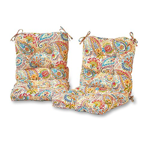 - Greendale Home Fashions Outdoor Seat/Back Chair Cushion in Painted Paisley (set of 2), Jamboree