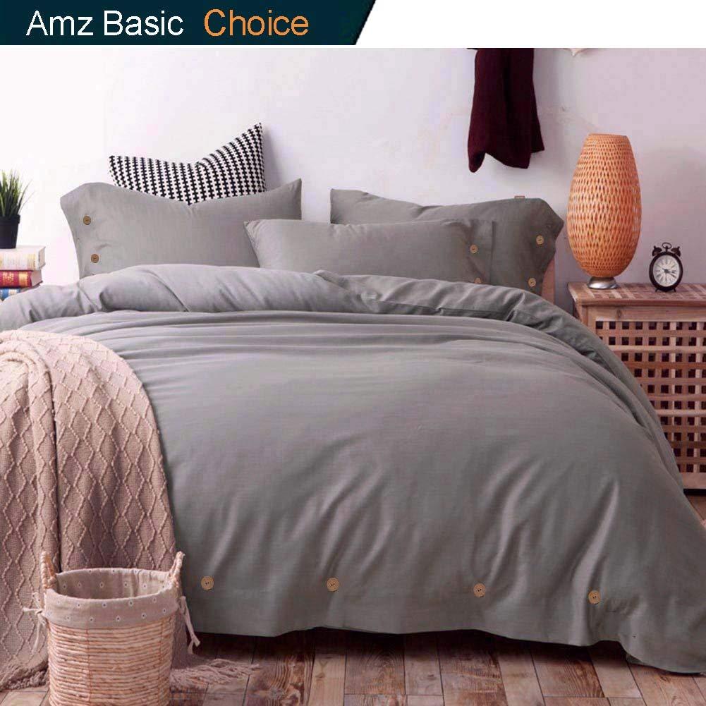 Duvet Cover Set Queen, 3 piece - 1200 TC Hotel Luxury Hypoallergenic Microfiber Down Comforter Quilt Bedding Covers with Deco Buttons, Zipper, Ties - Modern Style for Men Women Bedroom, Gray / Grey