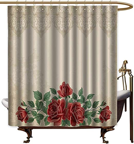 Shabby Chic Shower Curtain Vintage Dragonfly Print for Bathroom