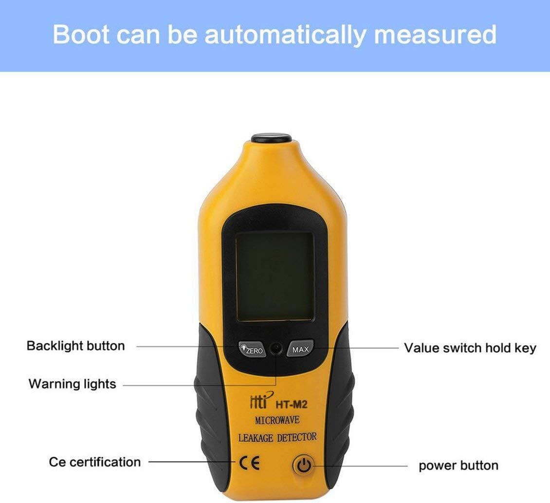 HT-M2 Pantalla LCD digital profesional Detector de fugas de microondas Medidor de radiaci/ón de alta precisi/ón Tester 0-9.99mW Negro y amarillo cm2