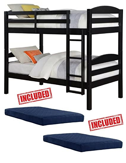 Amazon Com Mainstays Twin Over Twin Wood Bunk Bed In Black Finish