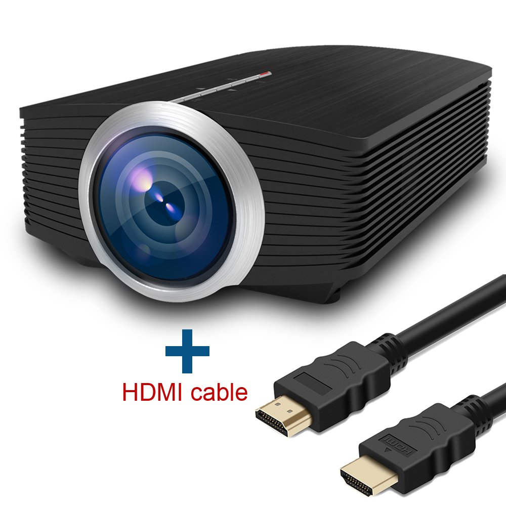Full HD Video Projector, Boscheng 1080P Portable Movie Projector LCD 1600 Lumens Multimedia Projector with HDMI VGA USB AV inport For Home Cinema Entertainment With HDMI Cable