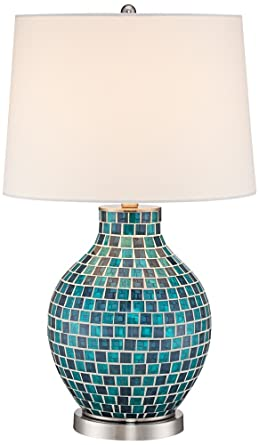 Teal Blue Glass Mosaic Jar Table Lamp Amazon Com