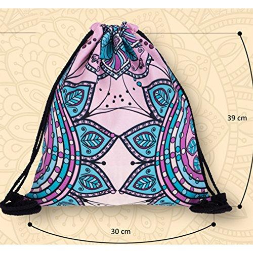 Haodou Bohemia Mandala Patr/ón Moda Cord/ón para Las Ni/ñas Casual Cadena Mochila Ni/ñas Poli/éster Playa Cinch Sack