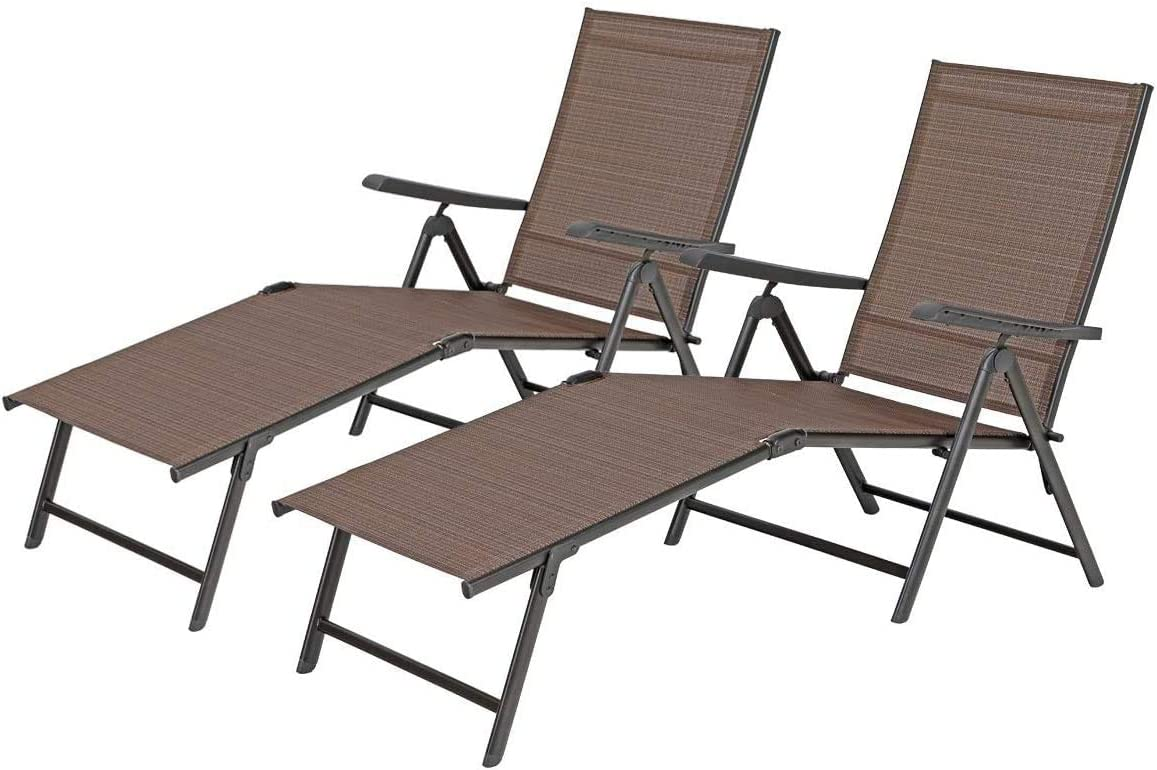 MFSTUDIO 2 Piece 5 Stages Adjustable Folding Lounge Deck Chair,Outdoor Patio Metal Beach Yard Pool Recliner Chaise – Brown