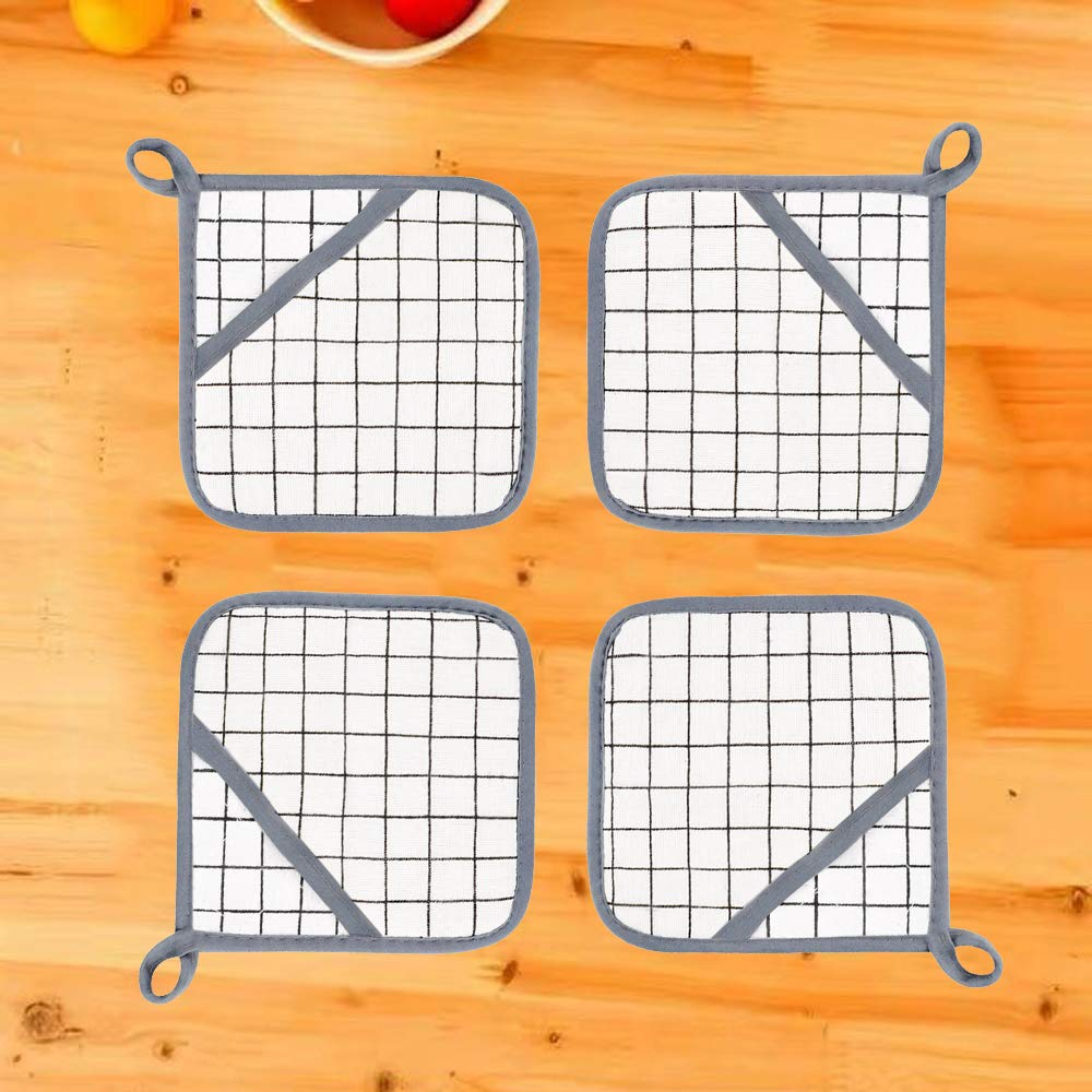 MELICAR Pot Holder Cotton Potholders Heat Resistant Cloth Pocket Mitts Hot Pad Square Pot Holders with Pocket for Kitchen Cooking Baking Set of 4 White