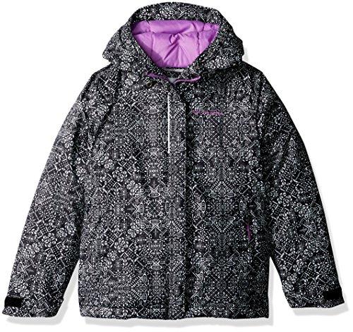Columbia Big Girls' Horizon Ride Jacket, Black Snowflake Print, X-Large