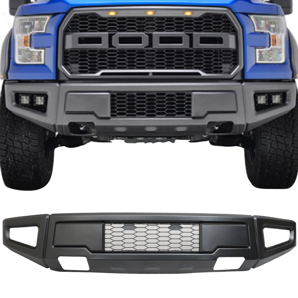2016 Front Bumper Compatible With 2015-2017 Ford F150 New Raptor Style Replacement Cover Assembly Kit Gray by IKON MOTORSPORTS