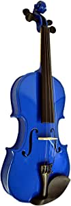 Full Size Adult (4/4) Dark Blue Student Beginners Violin with Case Bow and Rosin & DirectlyCheap(TM) Translucent Blue Medium Pick (VIO-1)