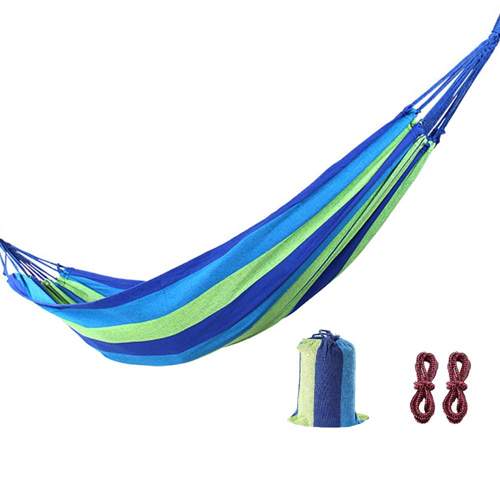 AMAZOIN Outdoor Camping Hammock, Canvas Cotton Ultra Light Double Hammock, Load 150 Kg, Suitable for Outdoor Hiking Backpack,Blue