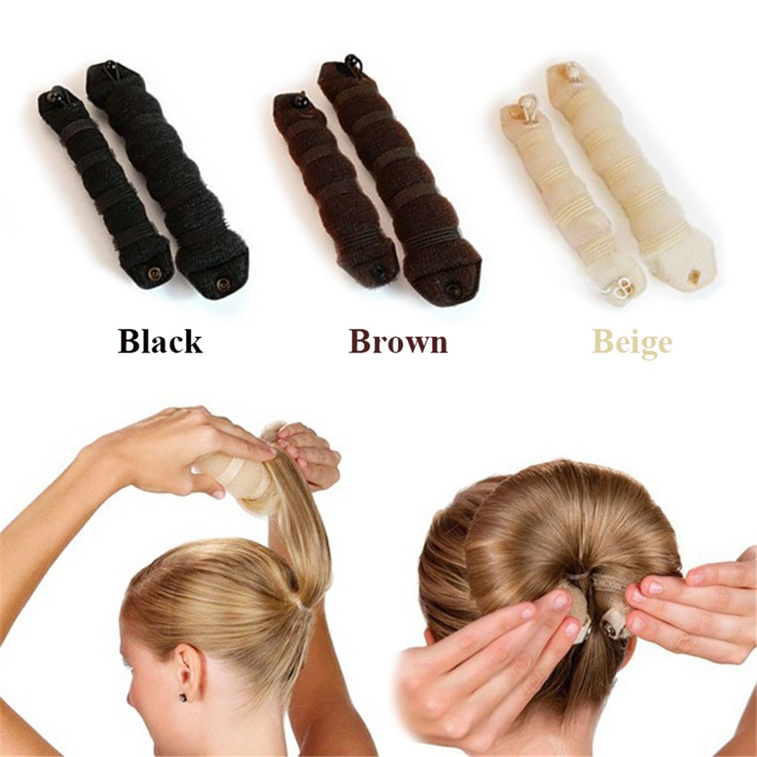 Hot 1Set=2Pcs Styling Accessories Braiders Casual Hair Style Rods Hair Curlers Curling Iron Brown by HAHUHERT (Image #1)