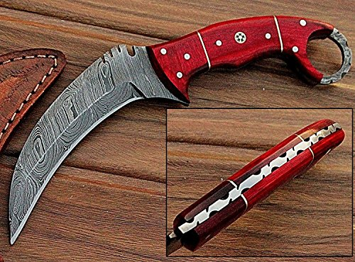 Noshra Wholesale Custom Made Orange Wood Handle Full Tang Karambit Damascus Steel Hunting Knife W/Case/Prime Quality Blade