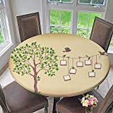 PINAFORE HOME Round Tablecloth Memories Tree withframes Insert Your Photos into Frames for Kitchen 40''-43.5'' Round (Elastic Edge)