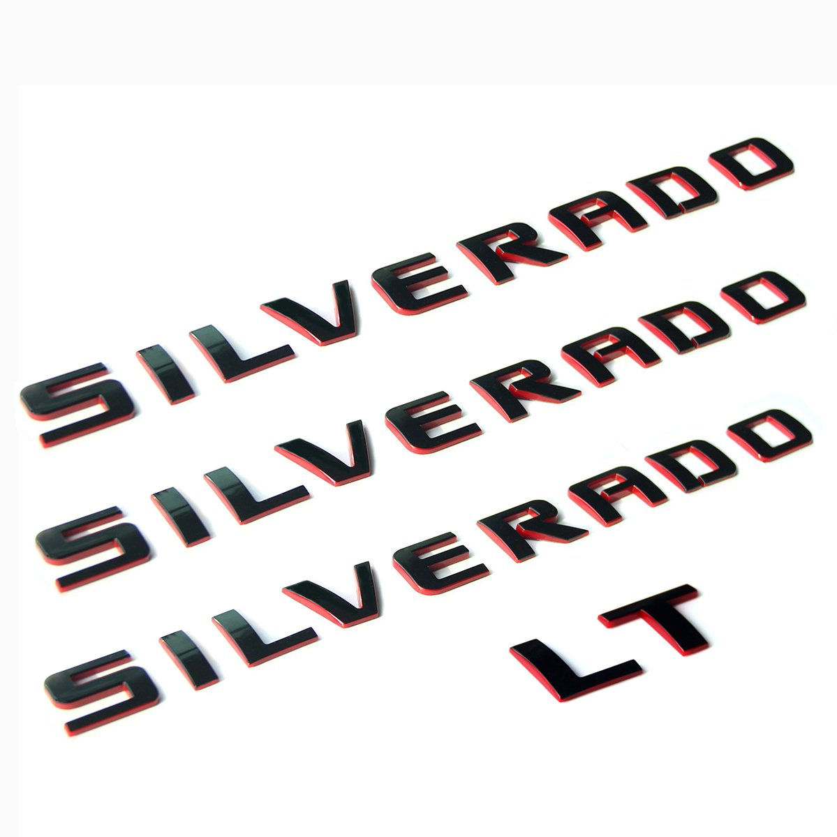 Yoaoo 3pcs OEM Silverado Nameplate Plus LT Letter Emblems 3D Badge 1500 2500HD 3500HD Original Silverado series Red Line Redline Yoaoo-GM