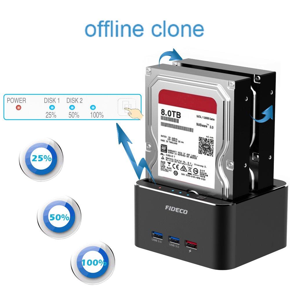 Aluminio USB 3.0 Base de Conexi/ón para Disco Duro con 3 Port Hub con Funci/ón de Clon Offline y 2 Bahias para SATA HDD y SSD de 2,5//3,5 Pulgadas FIDECO Base de Conexi/ón Docking Station