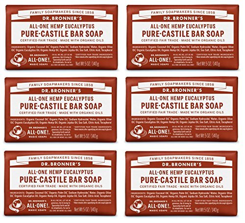 Dr. Bronner's - Pure-Castile Bar Soap (Eucalyptus, 5 ounce, 6-Pack) - Made with Organic Oils, For Face, Body and Hair, Gentle an