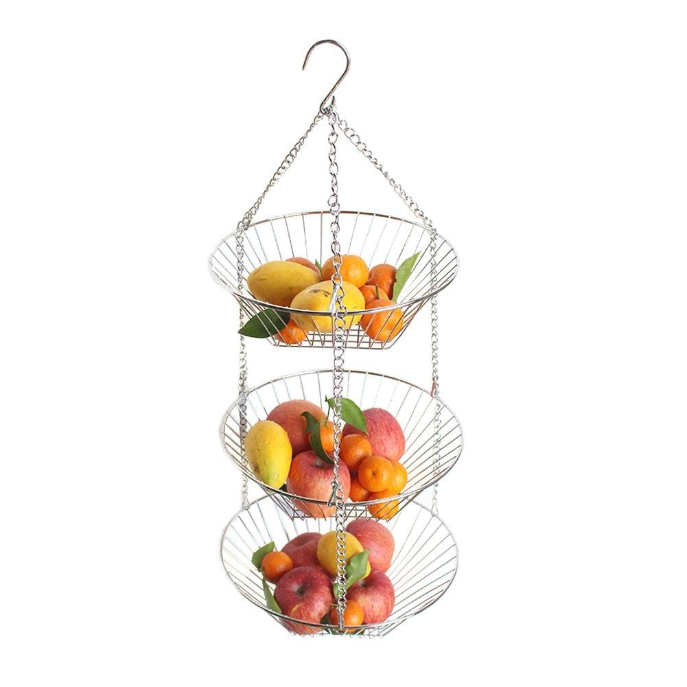Big-time Hanging Fruit Basket 3 Tier,Durable Wire Stainless Steel Vegetable Kitchen Storage Basket, Easy to Clean and Disassemble, Heavy Duty 5 kg