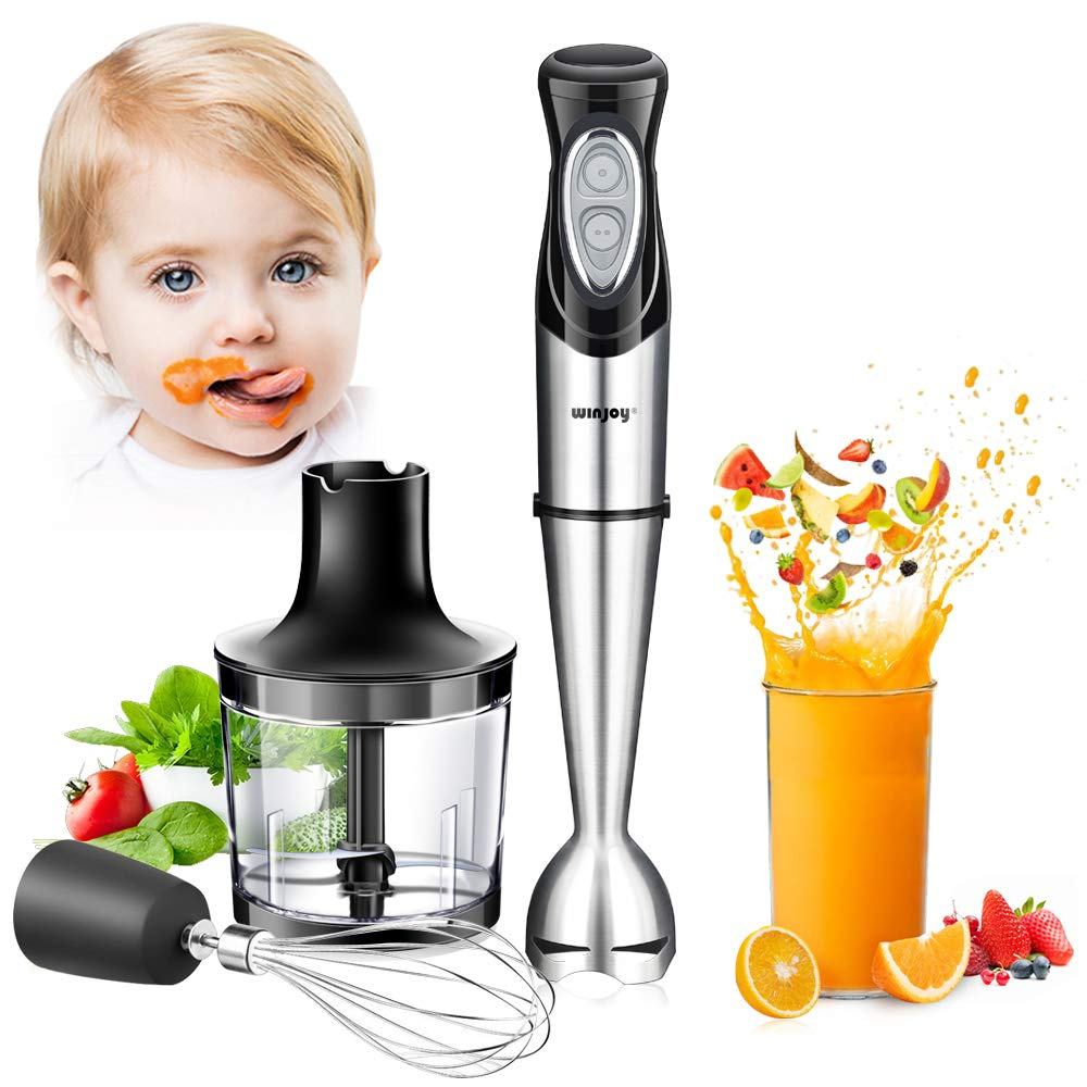 Immersion Hand Blender, 4-in-1 Multifunctional Handheld Blender with Ballon Whisk,20oz Chopper Bowl and BPA-Free Beaker for Baby Food,Smoothies,Sauces,Soup [FDA/ETL Approved]-2 Years Warranty by Winjoy
