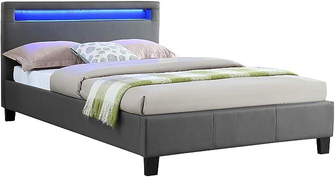IDIMEX Cama Individual para Adulto Mirando Dormir 120 x 190 cm con somier 1 Plaza y Tirador/1 Persona, cabecero de Cama con Luces LED, Revestimiento ...