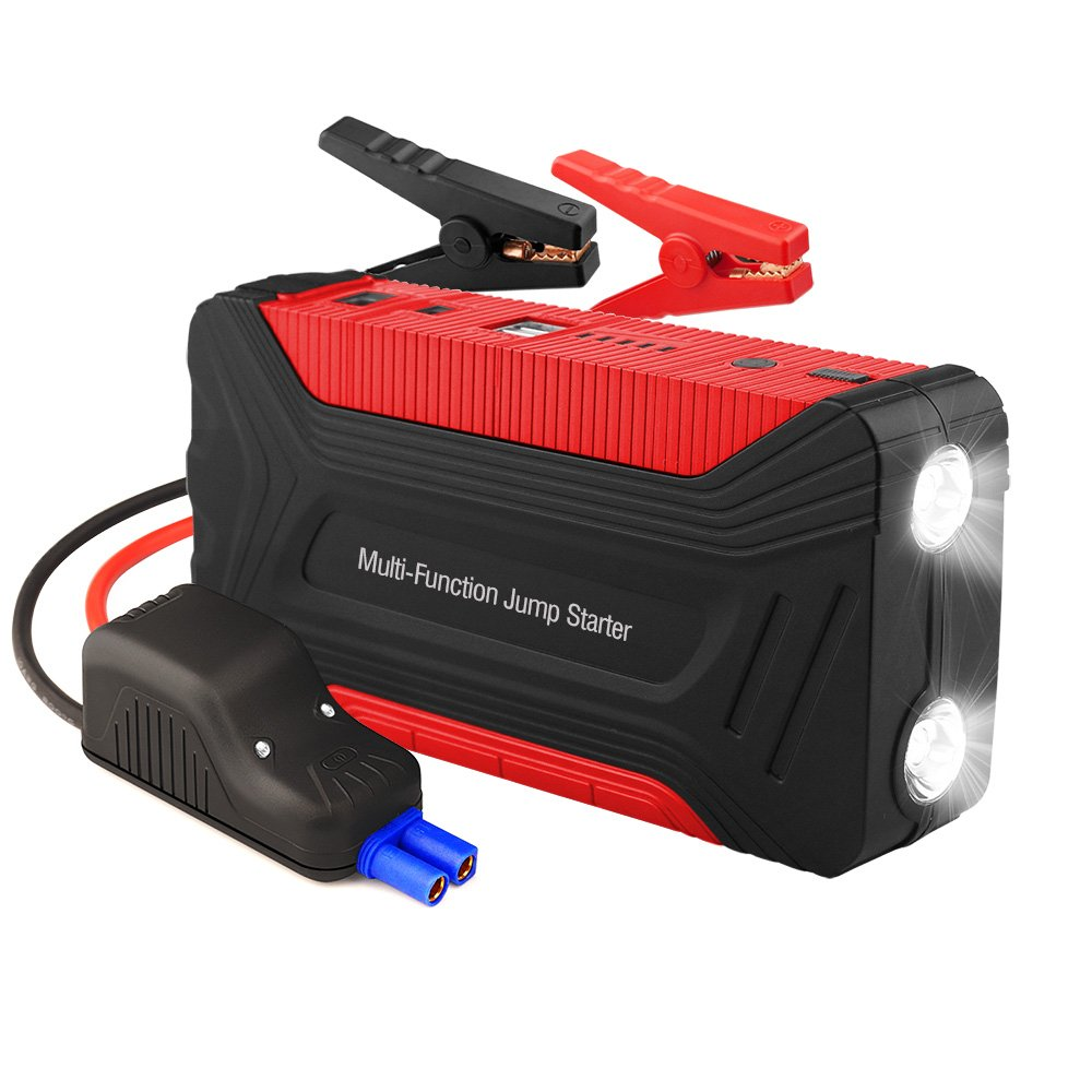Smart Car Jump Starter, Henzin 600A Peak 15000mAh Portable Car Battery Booster Pack w Smart Jump Cables Dual LED Flashlights Smart Quick Charging Port Power for Phones Laptops Motorcycles and Boats