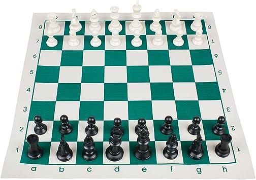 Andux Juego de ajedrez Completo Tablero Plegable Casillas QPXQ-01 ...