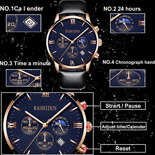 KASHIDUN Men's Watches Luxury Sports Casual Quartz Analog Waterproof Wrist Watch Genuine Leather Strap Black Color (A Black) (Black)