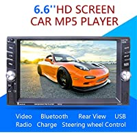 Double Din Universal Car MP5 Car MP5 Bluetooth Radio Reversing One-piece Player with Backup Camera Car Stereo Audio MP5 Player with Bluetooth Function Support Hands-free Calls