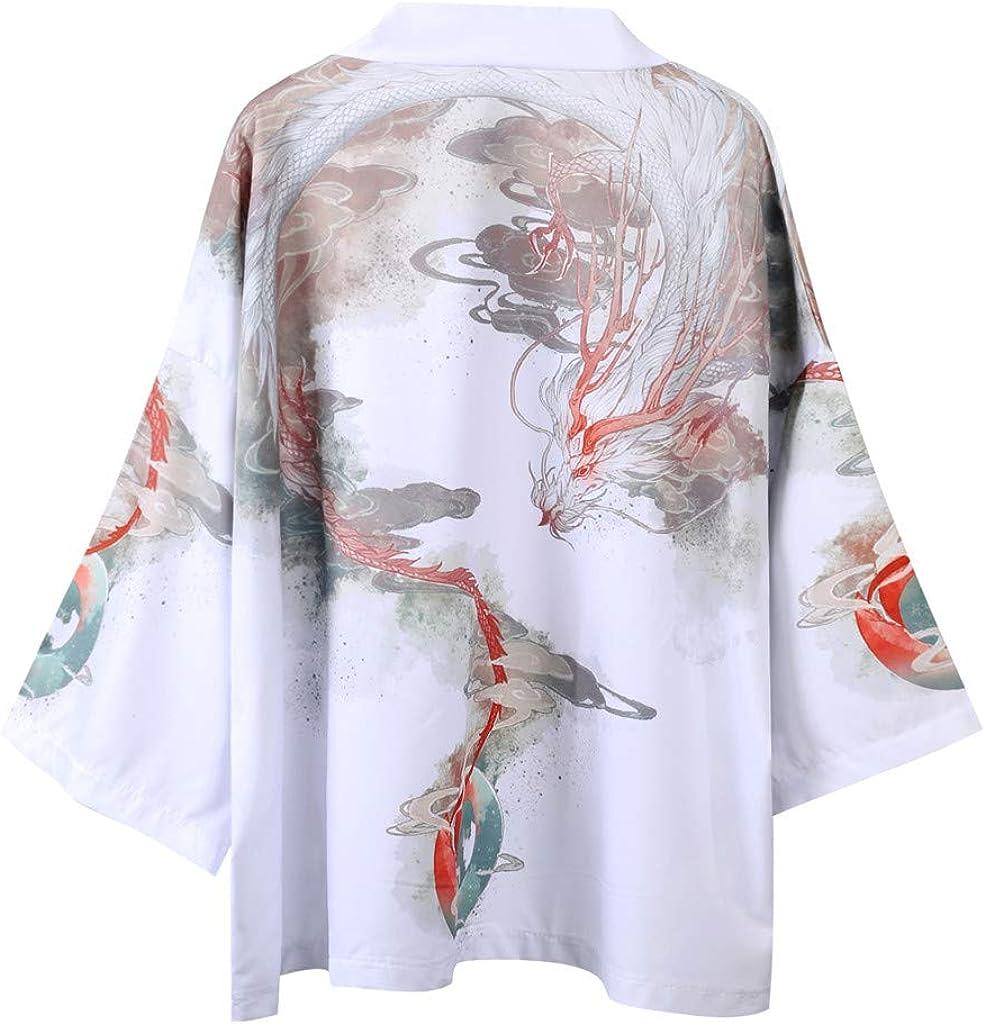 Men Japanese Kimono Cardigan Chinese Style Japanese Robes Cardigan Feather Knitting Coat Goosun Lovers Fashion Retro Robe Loose National Print Coat Jacket