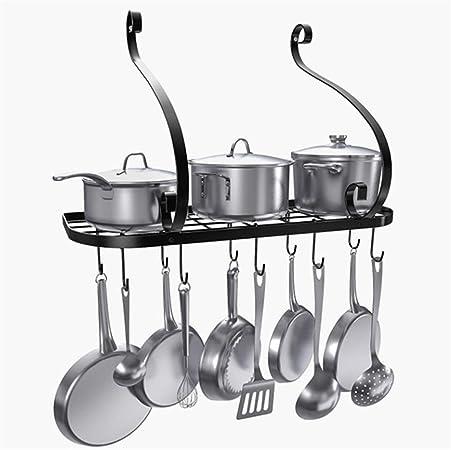 Negro Metal Estante Colgante de Pan Olla Montado en Pared con 10 Ganchos Organizador de Almacenamiento para Cocina
