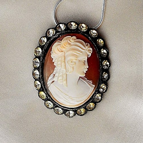 Large Vintage Beautiful Hand Carved Shell Cameo, Rare Signed, with Victorian Era Ringlet Curls, Rhinestone Buckle Setting, Pendant. 1 1/2
